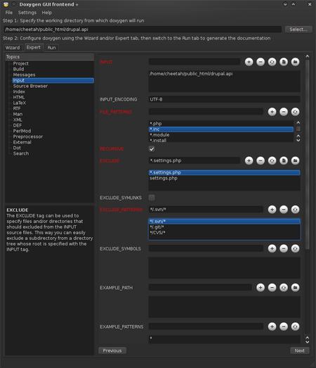 DoxyWizard - Input Instellingen